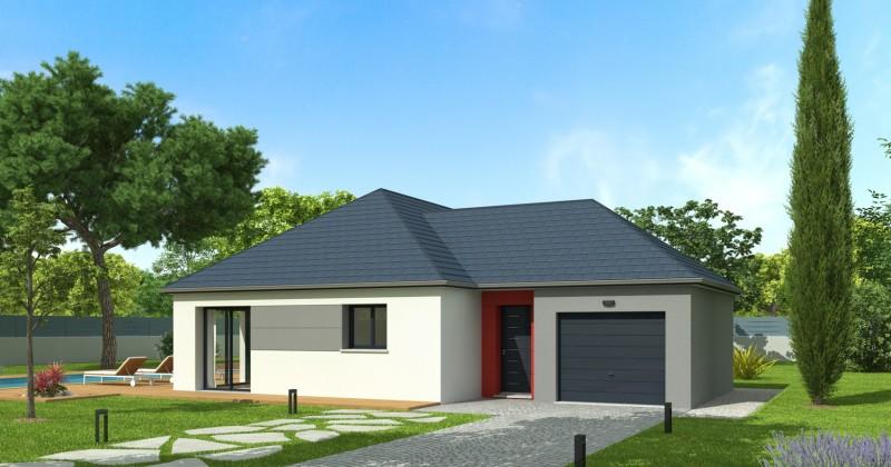 Maison plain pied 4 pans 90 m²