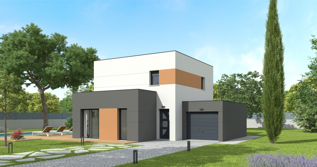 Mod le de maison dalhia bessin pavillons constructeur for Constructeur maison cherbourg