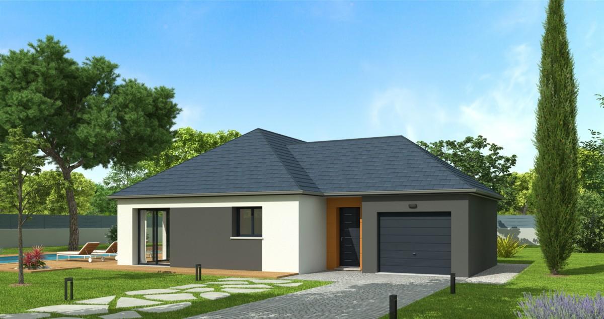 plan maison plain pied 3 chambres garage 90 m²